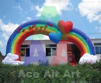 heart shape inflatable rainbow arch for wedding and Valentines'decoration