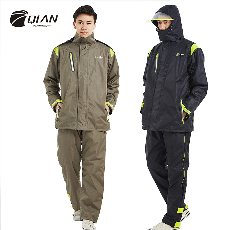 QIAN Brand Impermeable Raincoats Women Men Jacket Pants Set Adults Rain Poncho Thicker Police Rain Gear