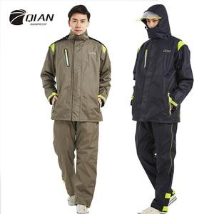 Image 1 - QIAN Brand Impermeable Raincoats Women/Men Jacket Pants Set Adults Rain Poncho Thicker Police Rain Gear Motorcycle Rainsuit