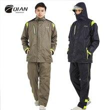 QIAN marka geçirimsiz yağmurluklar kadın/erkek ceket pantolon seti yetişkin yağmur panço kalın polis yağmur dişli motosiklet Rainsuit