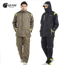 QIAN, фирменный непромокаемый женский/мужской комплект из куртки и брюк, пончо от дождя для взрослых, плотный полицейский дождевик, мотоциклетный дождевик