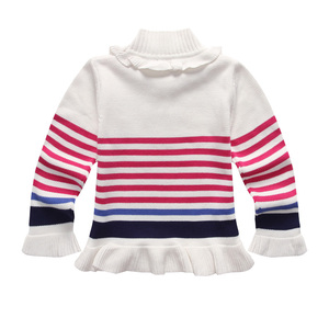Image 2 - Spring and Autumn  Girl Turtleneck Knitted Sweater Girls Pullover Kids Winter Shirts Sweet Flower Sleeve Lantern Sleeve Pullover