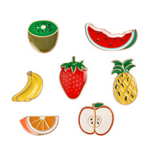 Buah Pin Bros Pisang Strawberry Semangka Kiwi Apple Orange Pine Apple Bros untuk Wanita Pria Enamel Lencana Pin Perhiasan(China)