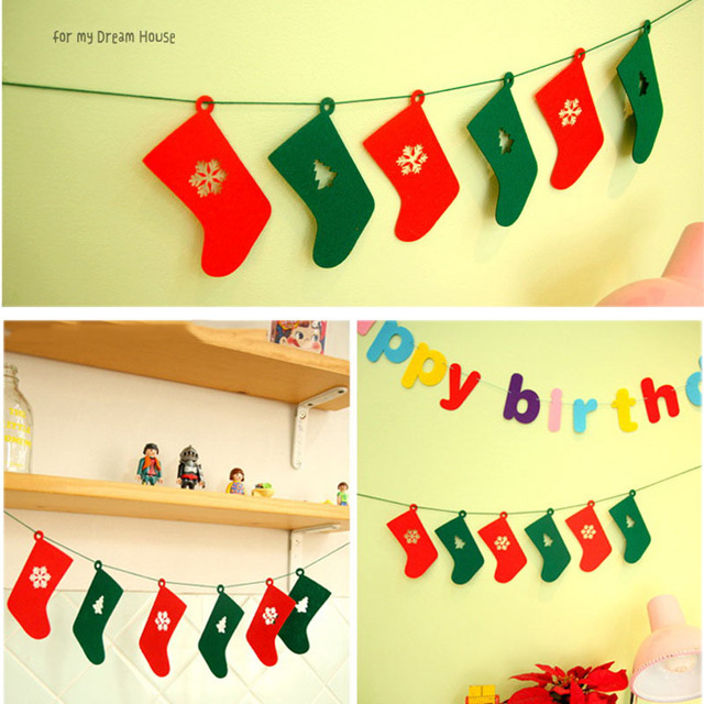 Us 1 27 39 Off Christmas Garland Bunting Banner Felt Christmas Socks Banner Hanging Xmas Household Decoration Christmas Decoration For Home In