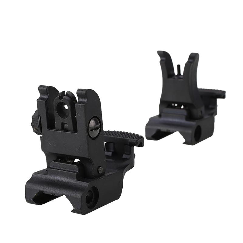 Folding Tactical Flip up Sight Rear Front Sight Mount Transition Backup Iron Sight Rapid Rifle RTS Sight