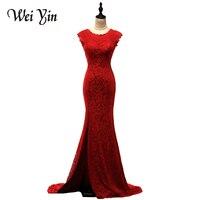 WeiYin Robe De Soiree Fashion Dark Red Mermaid Lace Evening Dresses Custom Made Vestido do Festa Mermaid Gown Formal Dress