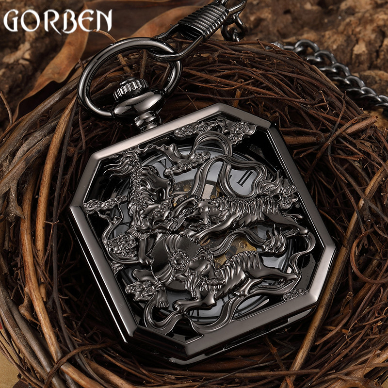 New Hollow Chinese Ancient Beast Totem Carving Steampunk Unique Square Skeleton Dial Hand-wind Mechanical Pocket Watch FOB Chain