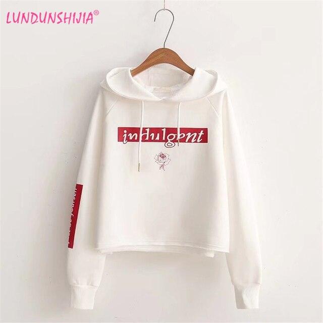 LUNDUNSHIJIA 2017 Autumn Harajuku Kawaii Hoodies Women White Sweatshirts  Loop pile Letters Printed Hooded Hoodies b085db411d6d