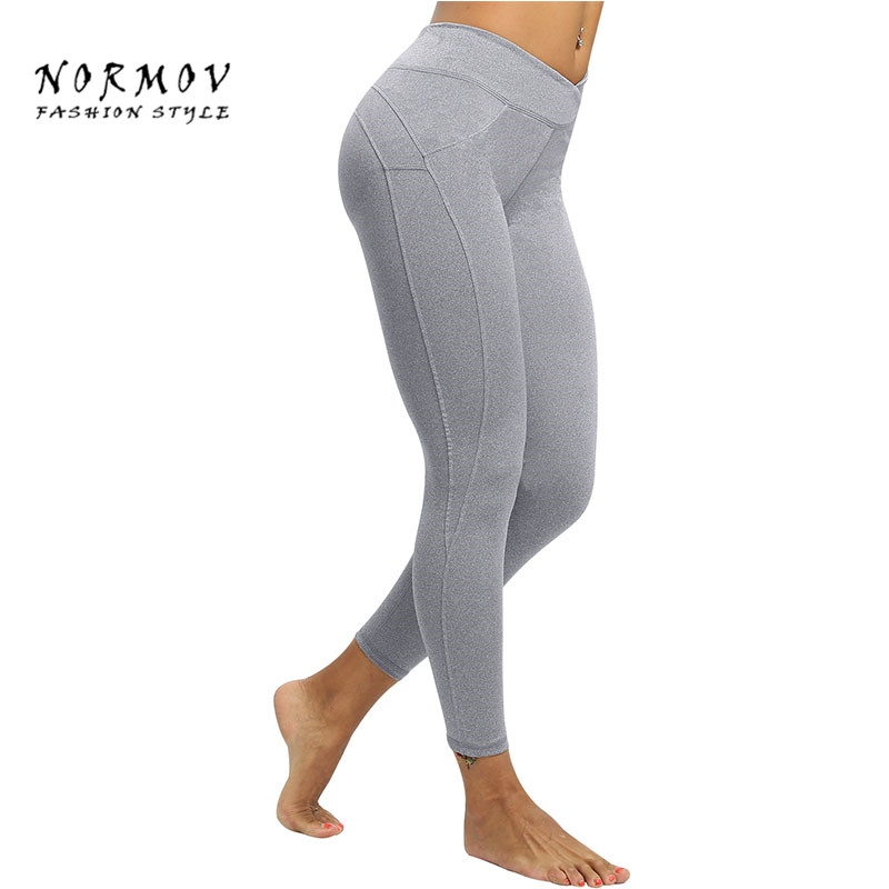 NORMOV 2018   Leggings   Women Solid Color Casual Sexy Print High Waist Polyester   Leggings   Slim Large Size Push Up Fitness   Leggings
