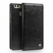 QIALINO for Huawei P 9 Phone Covers on Genuine Leather Case with Card Slot for Huawei P9 – Black