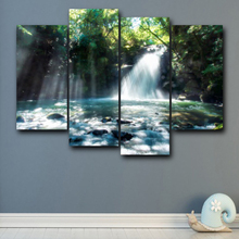Laeacco 4 Panel Spring Natural Landscape Canvas Oil Painting Pop Wall Art For Living Room Home Decoration Wedding