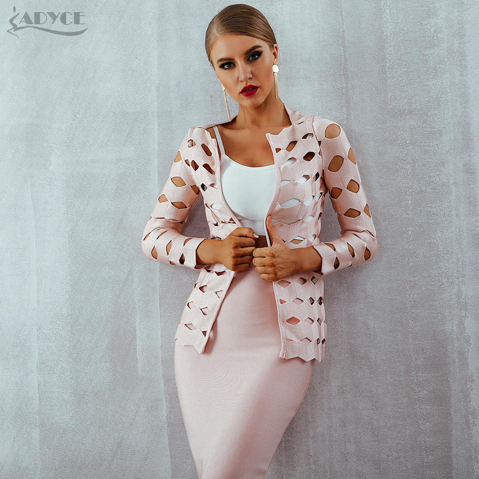 Adyce 2018 New Summer Women Bandage Coats   Trench   Sexy Hollow Out Three Quarter Sleeve Women Coats Celebrity Party Runway Coats