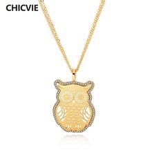 Chicvie милая сова золотого цвета ожерелья и подвески кристалл