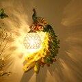 Скандинавский чердак из смолы  павлин  светодиодные настенные лампы  винтажная спальня  гостиная  коридор  светодиодные Настенные светильн...