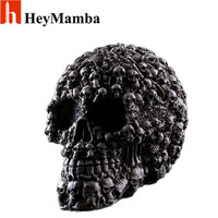 Resin Human Skull Skeleton Bones Statue Figurine Human Shaped Skeleton Head Model Halloween Decor Art Props