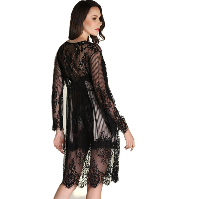 Pyjamas Women Robes for Women 2016 Summer Style Lace Pajamas Chemise De Nuit Longue Nightgown Bathrobe Set