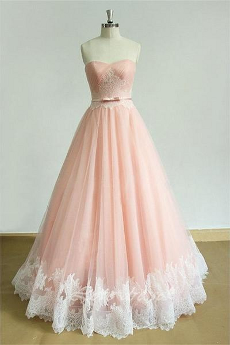 Light Coral Long Lace Organza Ball Gown Teens Prom Dresses Gowns ...
