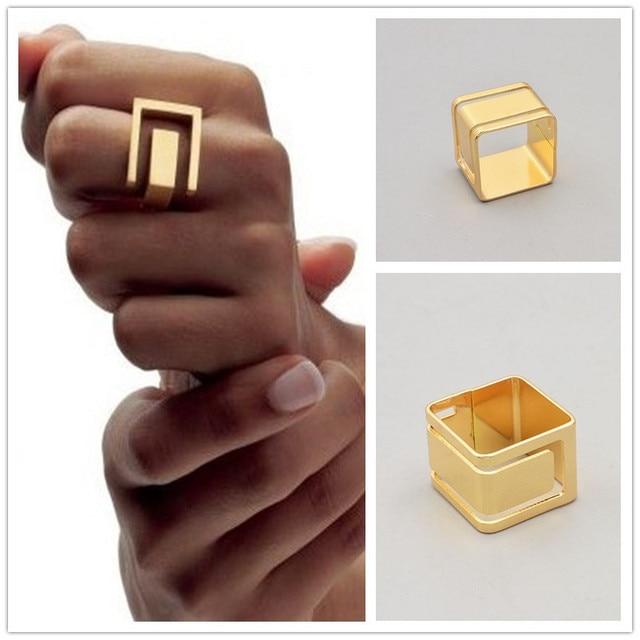 Новая мода ювелирные изделия золото цвет металла геометрическая палец кольцо подарок для женщины дамы R1564