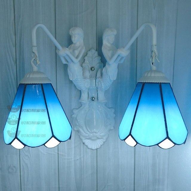 European style Mermaid Tiffany wall lamp garden Mediterranean bathroom mirror light wall lamp