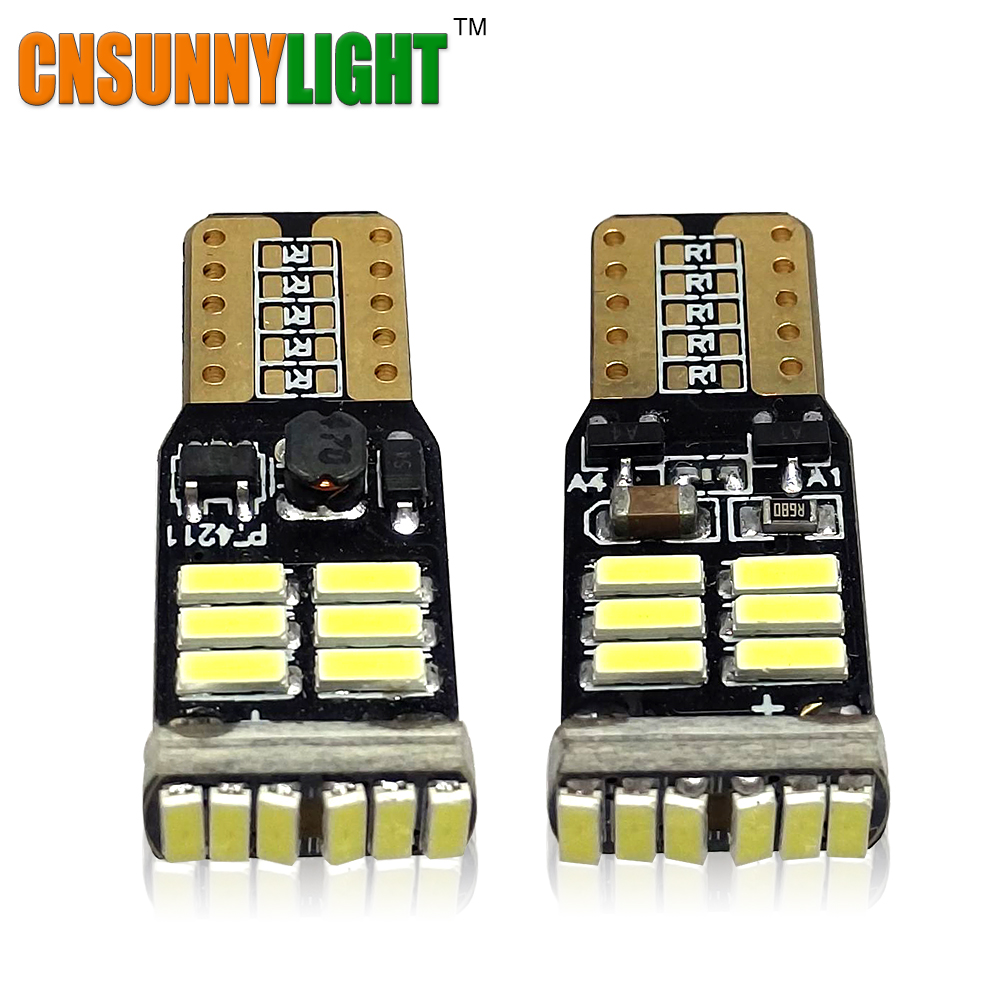 CNSUNNYLIGHT Top Quality T10 w5w LED White High Power Car Reverse Bulbs Fog DRL Lamp Interior Light 168 194 Error Free 12V 24V 1w led bulbs high power 1w led lamp pure white warm white 110 120lm 30mil taiwan genesis chip free shipping