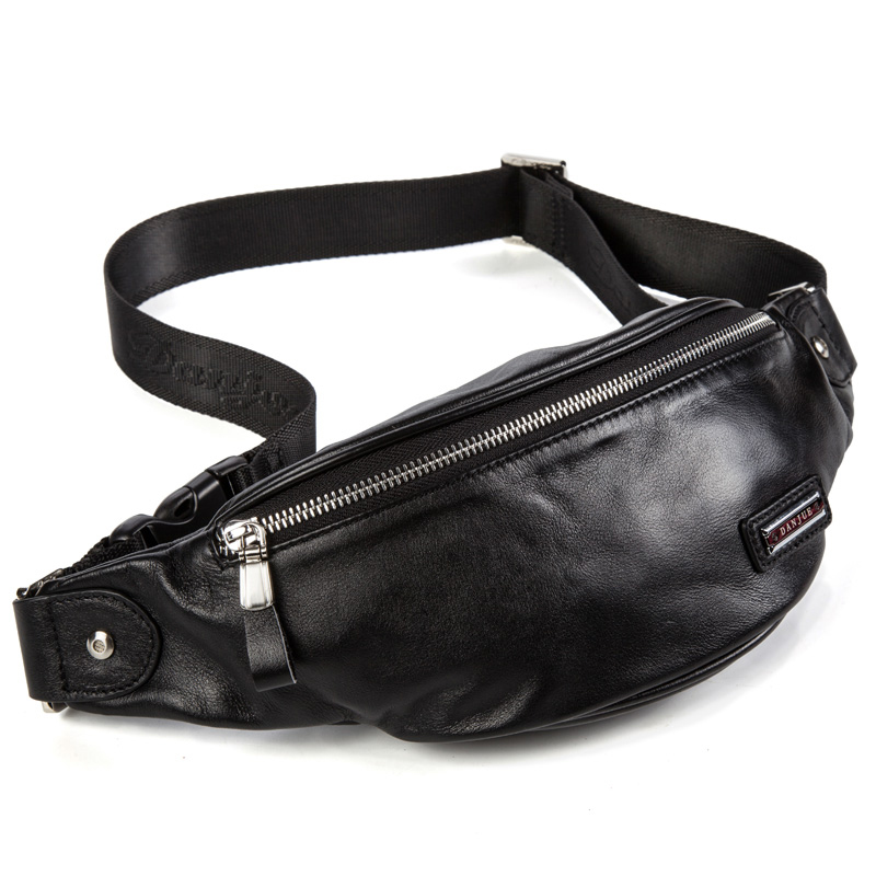 Fashion Genuine Leather Waist Packs For Men Cow Leather Belt Bag Shoulder Bags Classic Style Casual Black Bag New DANJUE Brand