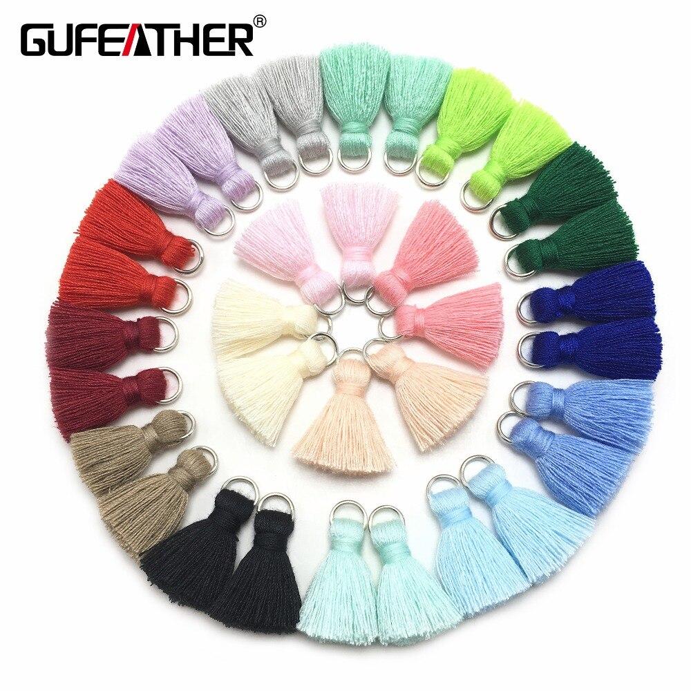 Набор кисточек GUFEATHER L46/ 2 см, набор кисточек из хлопка для самостоятельного изготовления ювелирных изделий, сережек и кисточек