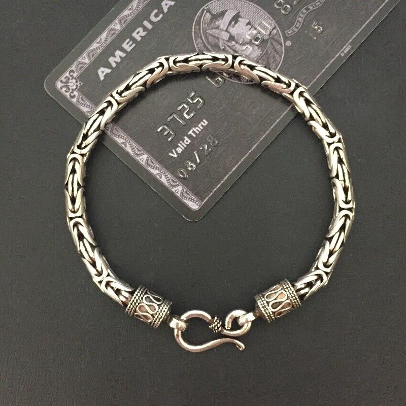 Solide ilver 925 byzantin chaîne Bracelet hommes Vintage Simple conception Dia 5mm 100% réel 925 en argent Sterling Cool hommes bijoux cadeaux