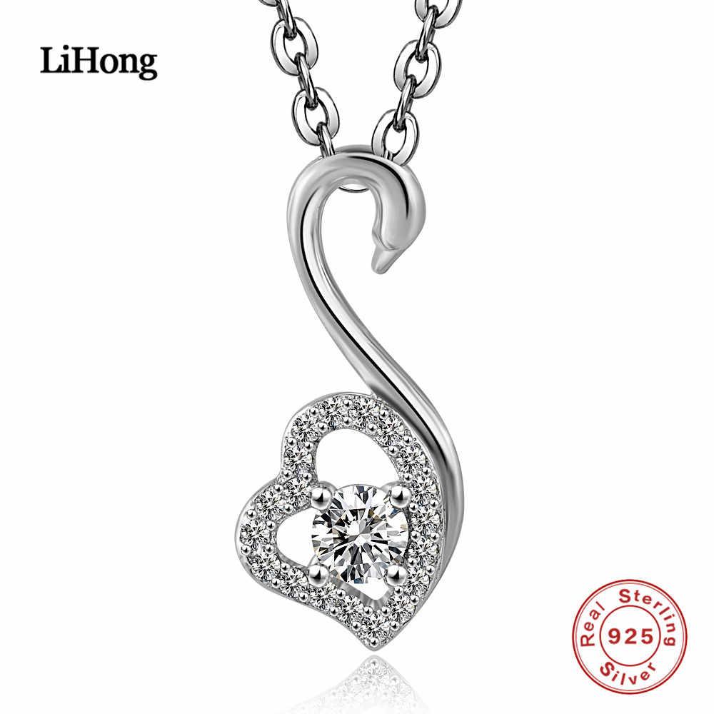 925 пробы серебро цепочки и ожерелья милый лебедь цепь с подвеской в виде сердца женщина модные украшения подарок