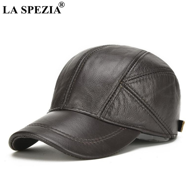 LA SPEZIA Genuine Leather Baseball Caps Men Brown Adjustable Baseball Caps  With Ears Flaps Autumn Winter Warm Casual Dad Hats bb1902378a98