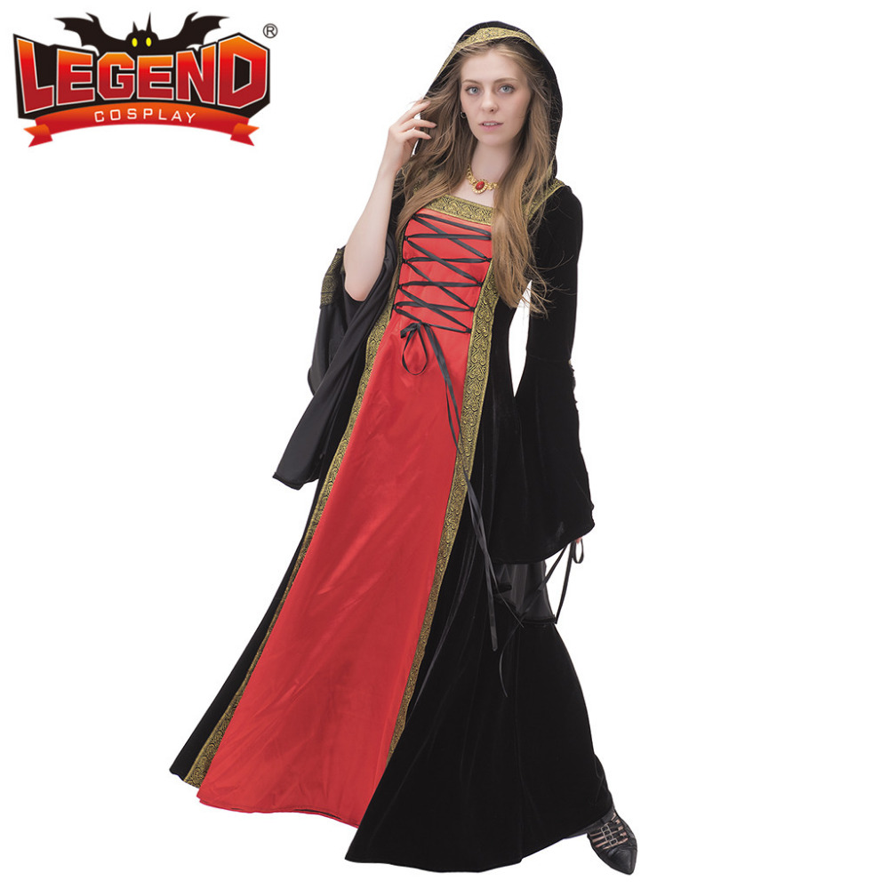 3ad5c72380 Velvet Medieval Renaissance Dress Suknia Ślubna Suknia Z Kapturem  Wiktoriańskim Day Dress Fantasy Halloween Kostium Cosplay w Velvet Medieval  Renaissance ...