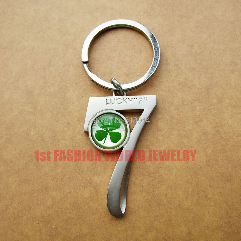 Seven Shaped 7 Real Luck Clover Keychains Four Leaf Lucky Key chain, Good Gift,Birthday Gift - LOTUS INCENSE WAY store