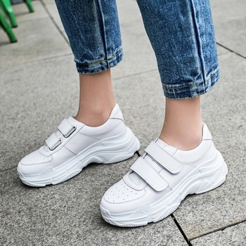 Women's Chunky Sneakers 2019 Fashion Women Flat Platform Shoes Lace Up Genuine Leather Vulcanize Shoes Female Trainers Dad Shoes