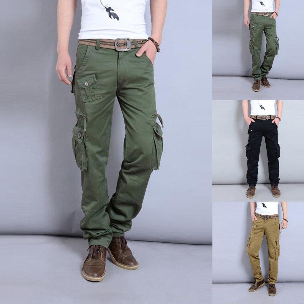 Pantalones Largos Tipo Cargo Para Hombre Pantalon Informal Para Trabajo Al Aire Libre Liso Multibolsillos Estilo Militar Algodon Elastico Flexible 8 9 Pantalones Tipo Cargo Aliexpress