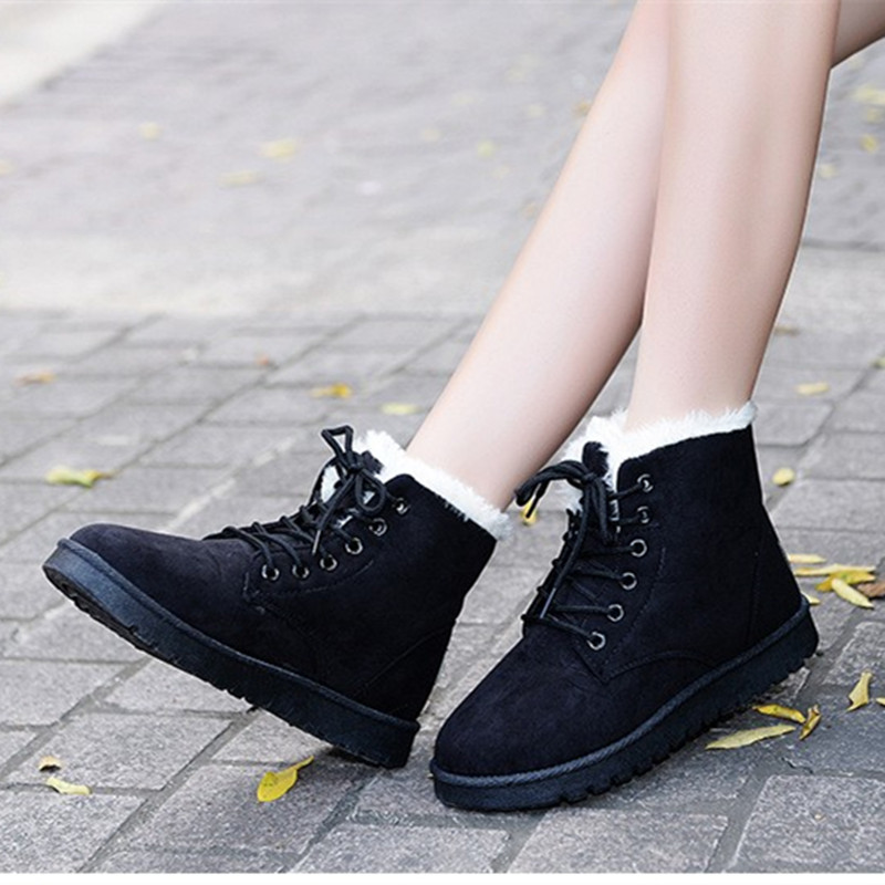 Winter Warm Snow Boot Indoor Outdoor Lace-up Boots For Women Shoes Flat Ankle Boots Comfortable Winter Shoes Hot Sale DT903 2016 hot sale male snow boots genuine leather ankle suede snow boots winter shoes for men and women mens boot shoe 35 48