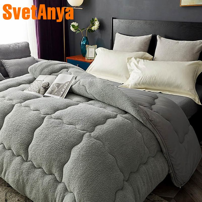 Svetanya warm Comforter thick Bedding Filler artificial Lamb Cashmere Throws Blanket white gray pink light tan colorSvetanya warm Comforter thick Bedding Filler artificial Lamb Cashmere Throws Blanket white gray pink light tan color