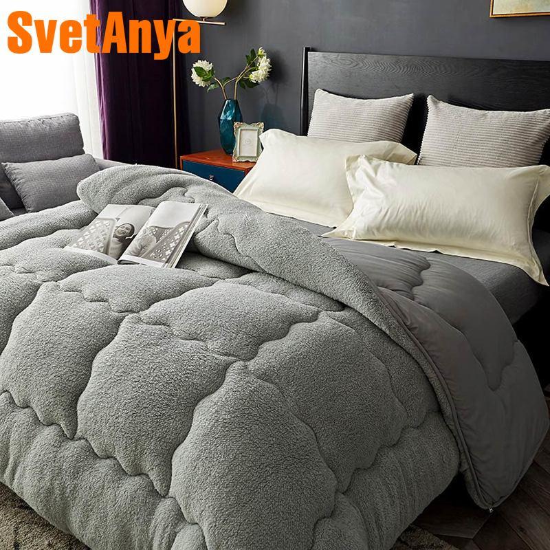 Svetanya теплое одеяло толстое постельное белье наполнитель искусственный ягненок Кашемир плед
