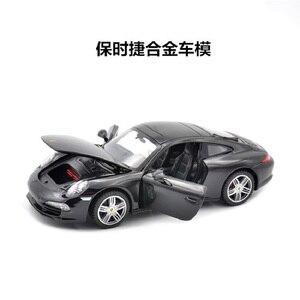 Image 2 - 1:24 סימולציה סגסוגת מכונית ספורט דגם עבור Porscheed 911 עם היגוי גלגל קדמי שליטת גלגל הגה צעצוע לילדים