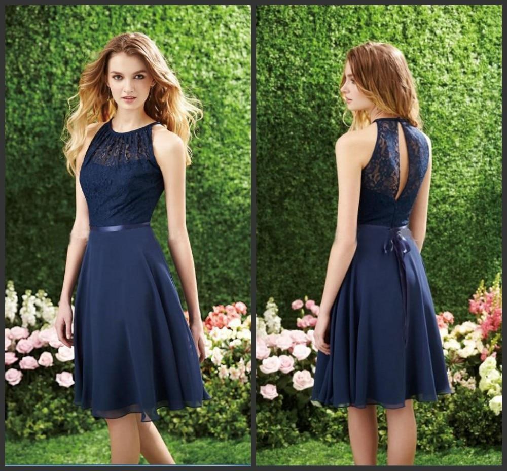 Navy Blue Bridesmaid Dress Halter High Neck Cutout Back Lace Chiffon
