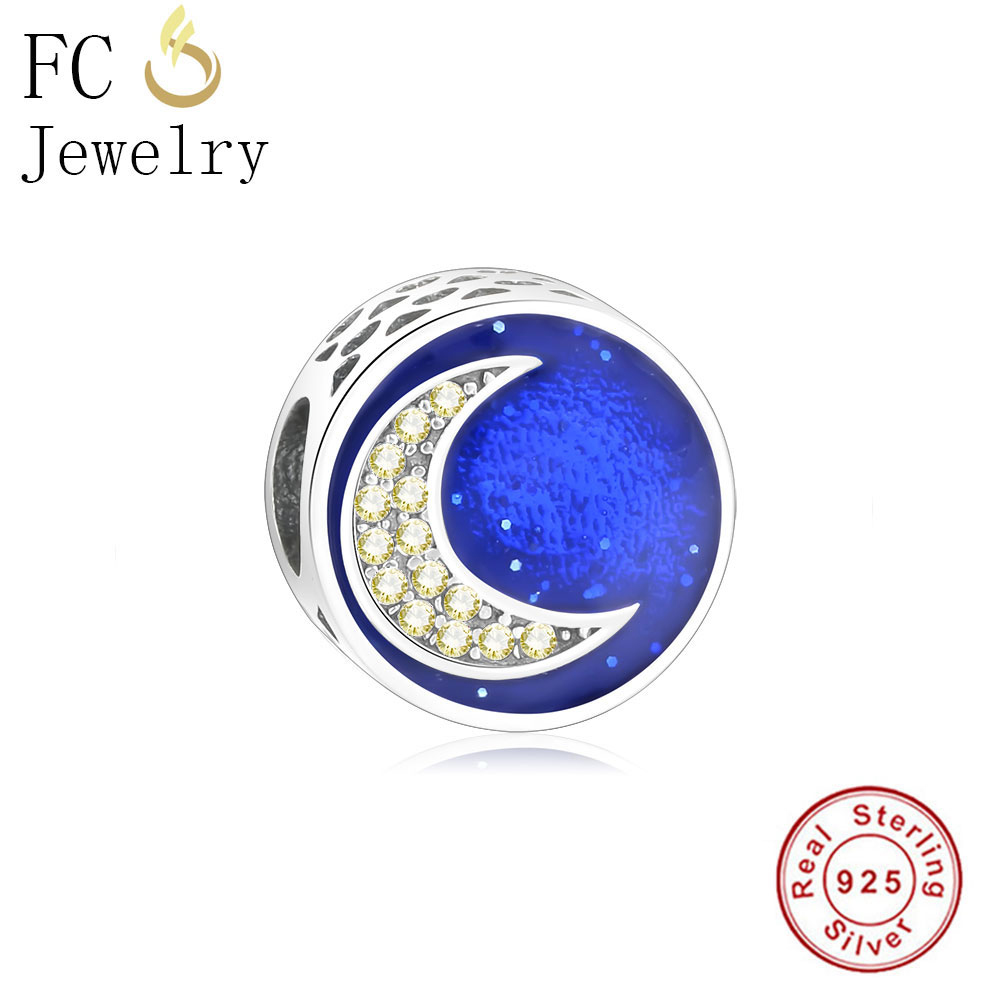 FC Jewelry Authentic 925 Sterling Silver Round Sky Moon Heart Charm Beads Fit Original Pandora Charms Bracelet Berloque Gift