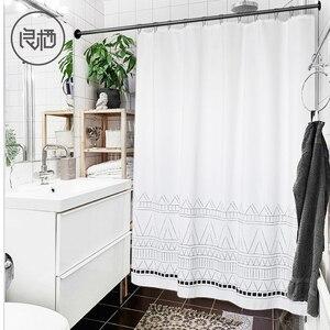 Image 1 - LIANGQI cortina de ducha gruesa con borla étnica, herramientas de baño, partición impermeable, cortina colgante de alta calidad, decoración del hogar