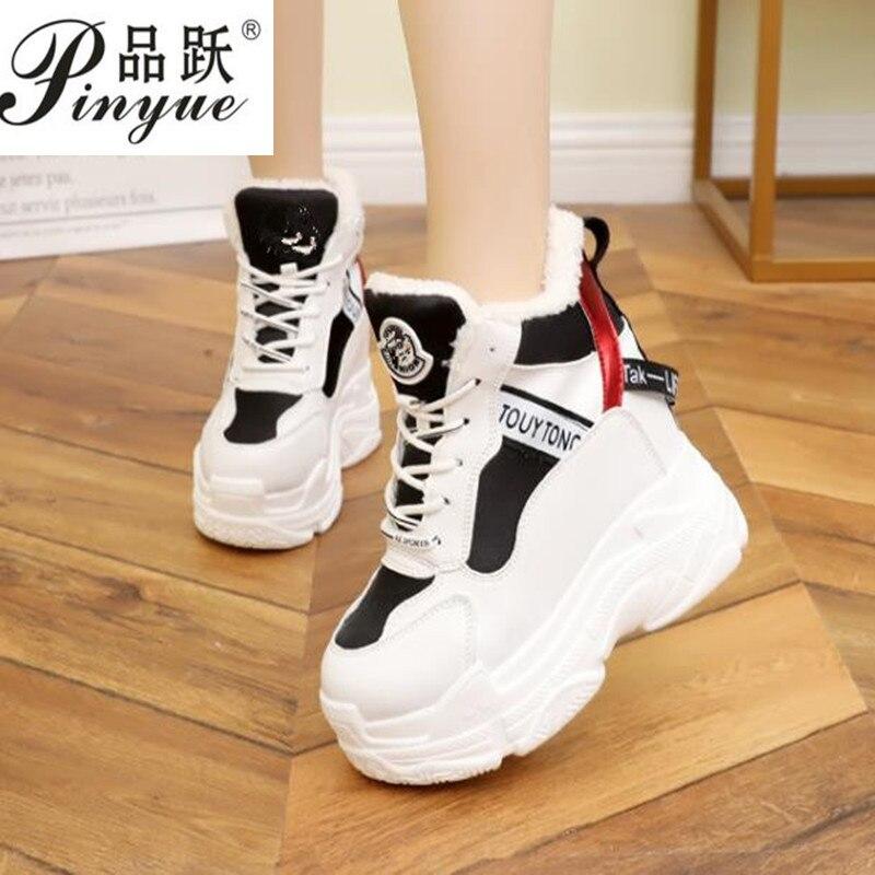 Cm Piel Tobillo De Mujer 11 Invierno Negro Para Cuña Deporte Botas Tacones Zapatillas marrón Altos Nieve Nuevo Plataforma Cuero 2019 W4YfxPznx