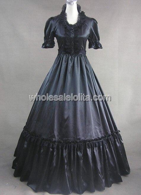 Черный Готический Викторианской Dress С Кружевом Украшения Dress - Цвет: Черный