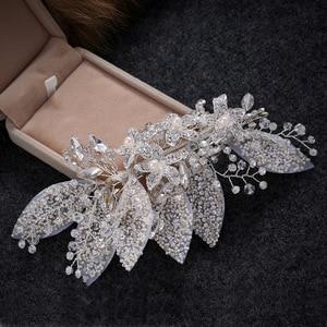 Image 4 - Crystal Wedding Hair Clip Hair Accessories Jewelry Ladies Hair  Accessoire Cheveux Bridal Tiaras Bijoux Hair Stick  for Women