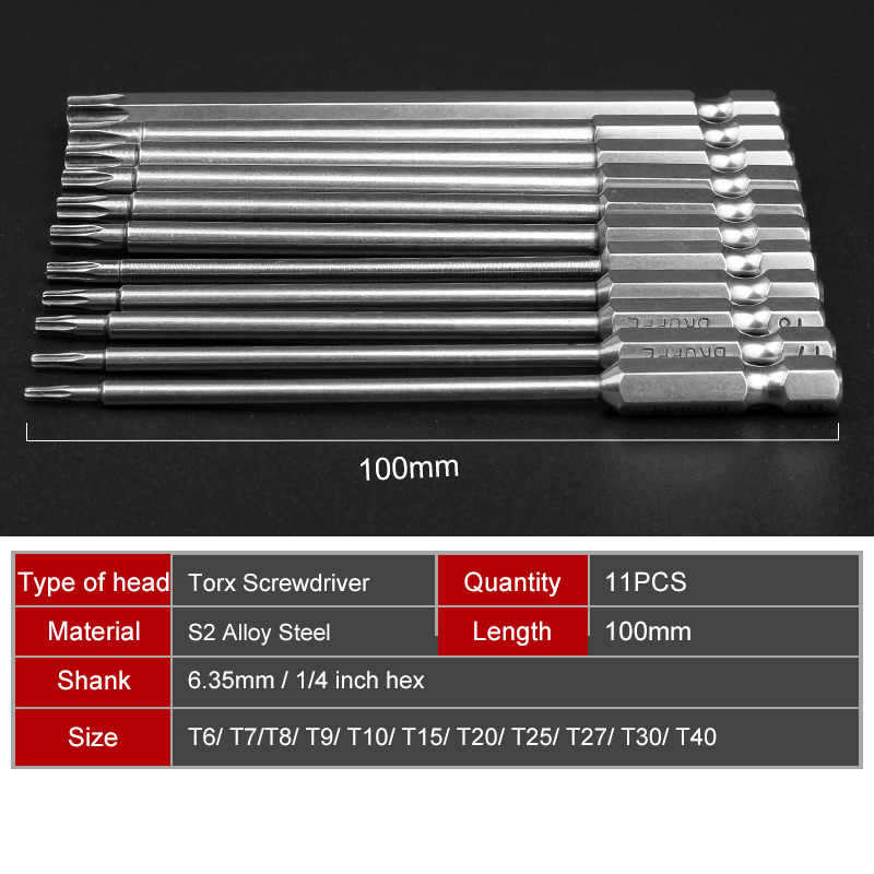 High Quality 11pcs 100mm S2 Steel Hex Torx Head Drill Screwdriver Set Bits Hand Tools Screw Driver Screwdrivers Kit Magnetic