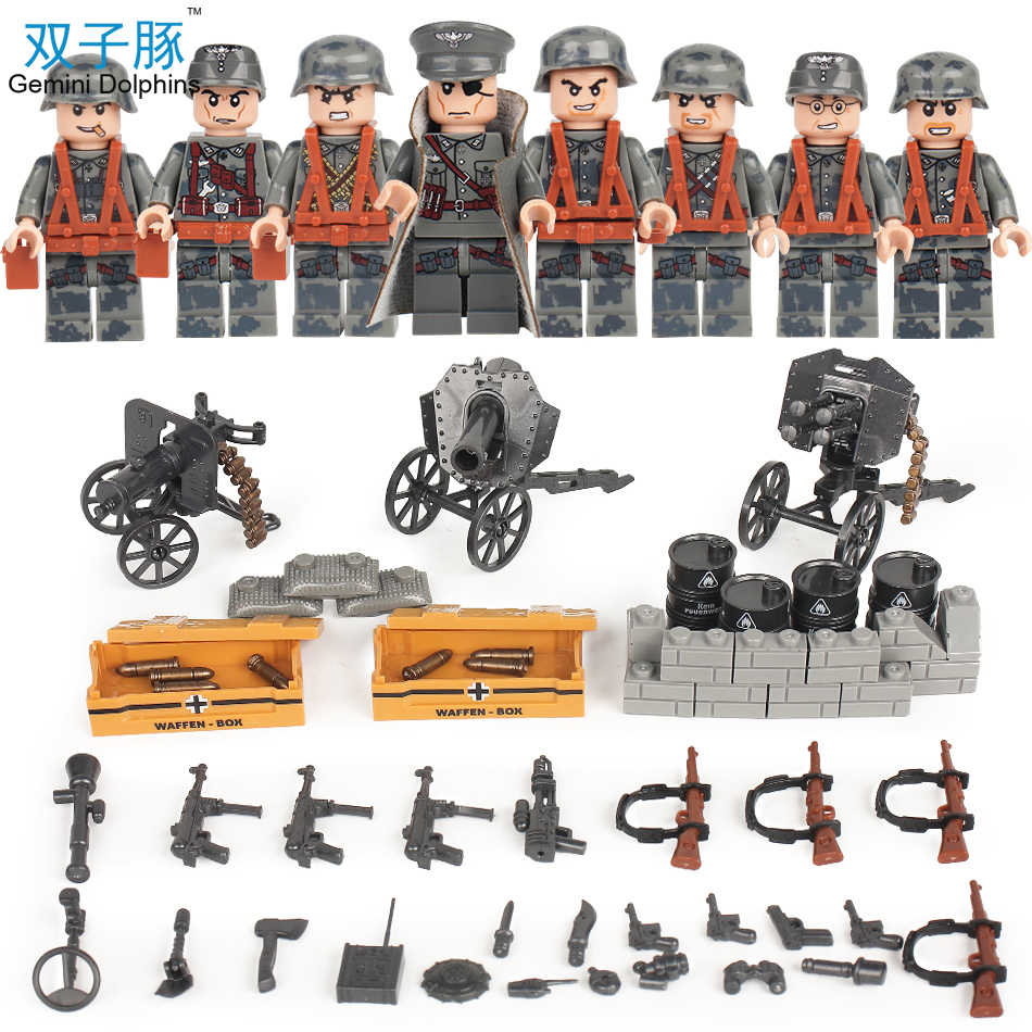 Military WW2 German Waffen Soldiers Battle Soviet Red Army Weapon Building Blocks Compatible Legoed Action Figure Toys For Kids