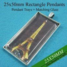 25x50 мм старинное серебро настройки прямоугольник Подвесные, пустой кулон лоток+ Соответствующие Стекло для DIY Фото Подвеска решений