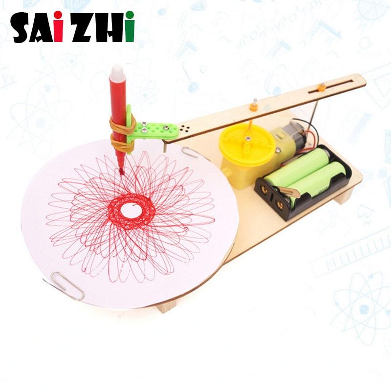 Saizhi Model Toy Diy Electric Toy Plotter Painting Machine Developing Intelligent STEM Motor Toy  Birthday Gift SZ3346