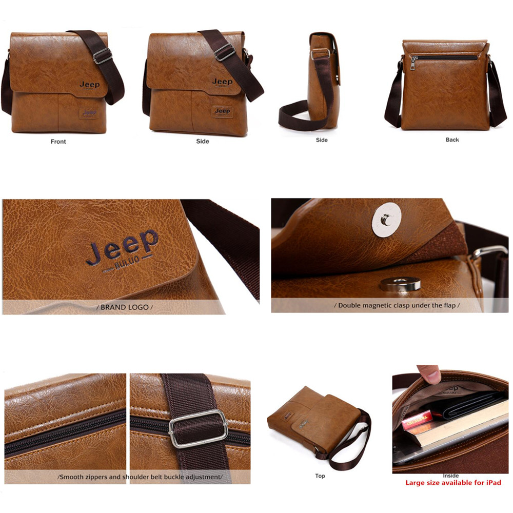 132800661e DISCOUNT ~ Men Tote Bags Set JEEP BULUO Famous Brand New Fashion Man Leather  Messenger Bag Male Cross Body Shoulder Business Bags For Men-in Crossbody  Bags ...