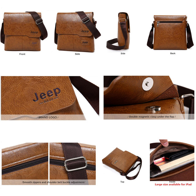 Men Tote Bags Set JEEP BULUO Famous Brand New Fashion Man Leather Messenger Bag Male Cross Body Shoulder Business Bags For Men 4