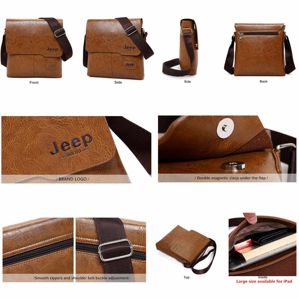 ab1da77b9789 ... Men Tote Bags Set JEEP BULUO Famous Brand New Fashion Man Leather Messenger  Bag Male Cross ...